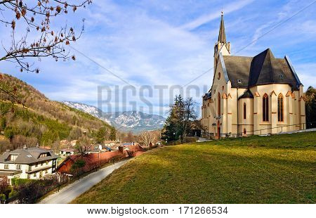 Catholic parish church of St.Paul. Alpine village Prein an der Rax, Austria poster