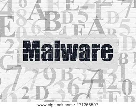 Protection concept: Painted black text Malware on White Brick wall background with  Hexadecimal Code