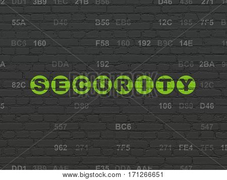 Privacy concept: Painted green text Security on Black Brick wall background with Hexadecimal Code