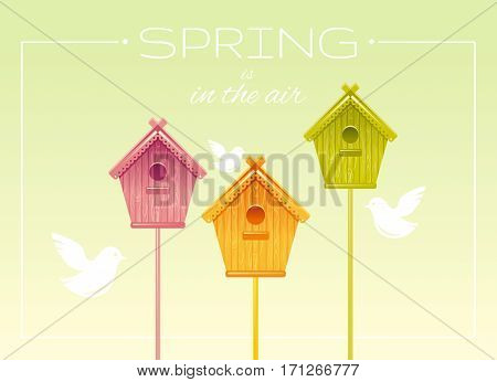 Nesting box birdhouse spring landscape vector illustration. Sunny sky view. Text lettering flat logo with flying starling birds. Nature cute elegant cartoon poster frame.