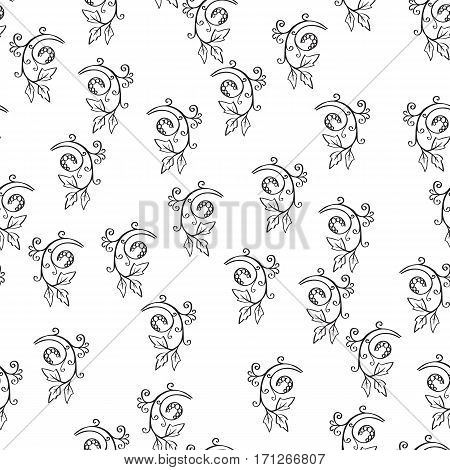 Floral seamless pattern. Sketchy hand drawn branches randomly placed on white background. Can be used for textile wallpapers wrapping design. Easy changeable colors. EPS8 vector illustration.