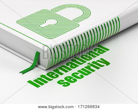 Security concept: closed book with Green Closed Padlock icon and text International Security on floor, white background, 3D rendering