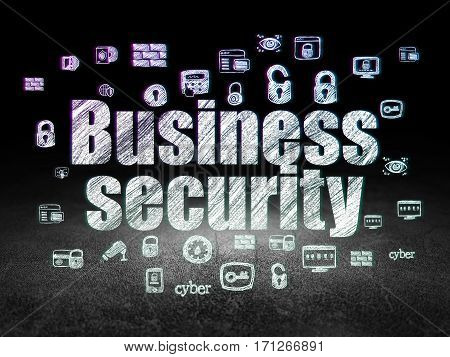 Safety concept: Glowing text Business Security,  Hand Drawn Security Icons in grunge dark room with Dirty Floor, black background