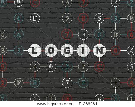 Privacy concept: Painted white text Login on Black Brick wall background with Hexadecimal Code