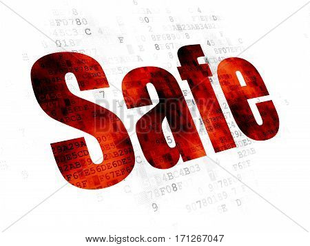 Safety concept: Pixelated red text Safe on Digital background