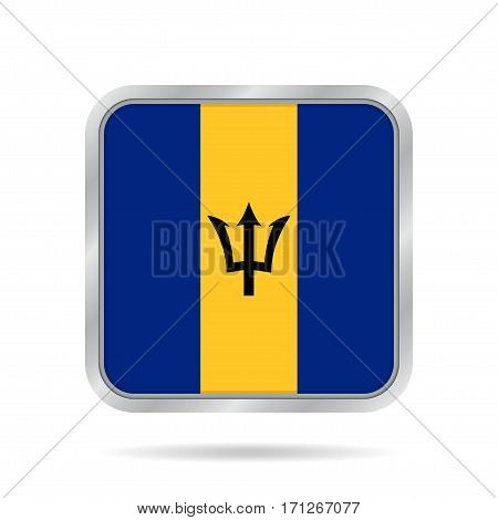 National flag of Barbados. Shiny metallic gray square button with shadow.