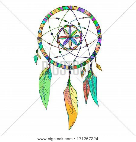 Indian Dream catcher with beads feathers. Sketch style. Color option. Vector illustration isolated on white background.