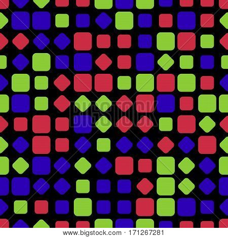 abstract seamless illustration - colored rounded rhombuses squares in different size in front of a black background
