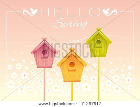 Nesting box birdhouse spring landscape vector illustration. Sunny sky view, wave lines pattern. Text lettering flat logo with flying starling birds. Nature cartoon poster.