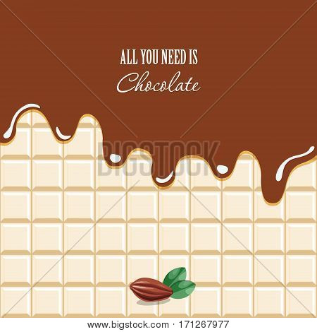 Melted chocolate background with sample text. Cocoa bean. Vector EPS10.