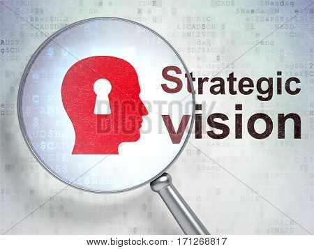 Finance concept: magnifying optical glass with Head With Keyhole icon and Strategic Vision word on digital background, 3D rendering