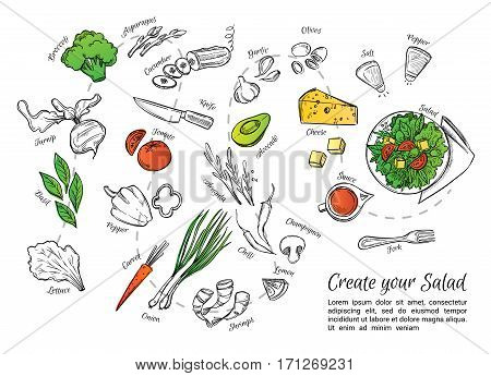 Hand Drawn Vector Illustration Of Fresh Salad With Vegetables, Cheese, Seafood Etc. Create Your Sala