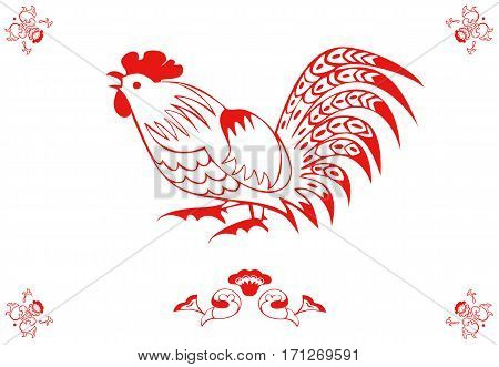 Monochrome cock in a folk style. One of the signs of the zodiac, the Chinese horoscope, folklore character. Vector illustration in red and white. Horizontal location.