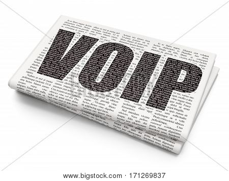 Web design concept: Pixelated black text VOIP on Newspaper background, 3D rendering