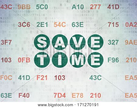 Time concept: Painted green text Save Time on Digital Data Paper background with Hexadecimal Code
