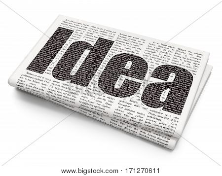 Marketing concept: Pixelated black text Idea on Newspaper background, 3D rendering