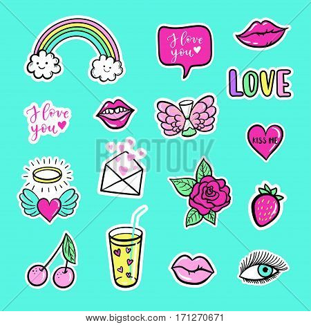 Vector Hand Drawn Fashion Patches For Happy Valentines Day. Rainbow, Lip, Heart, Speech Bubble. Mode