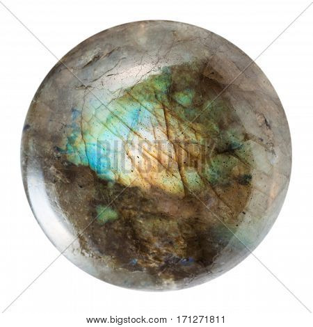 macro shooting of geological collection mineral - polished labradorite gem isolated on white background