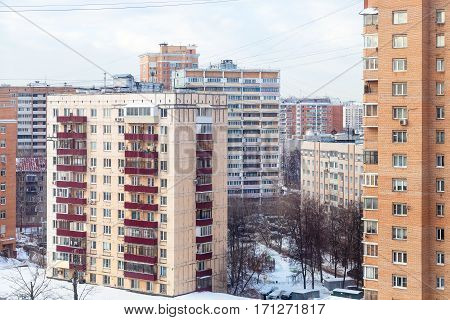 urban houses in residential quarter in Moscow city in winter day