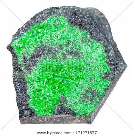 Uvarovite Crystals On Stone Isolated