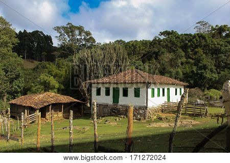 Old Portuguese colonial house in the city of Goncalves (Minas Gerais - Brazil)
