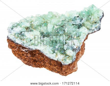 Raw Anapaite Crystals On Limonite Rock Isolated