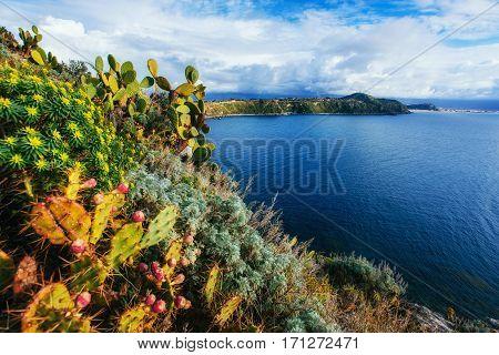 The trail on the hillside by the sea. Lipari island, Sicilia, Italy, Europe. Mediterranean and Tyrrhenian sea