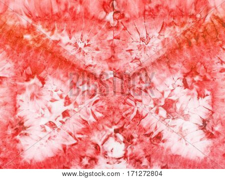 Abstract Red Pattern On Silk Batik