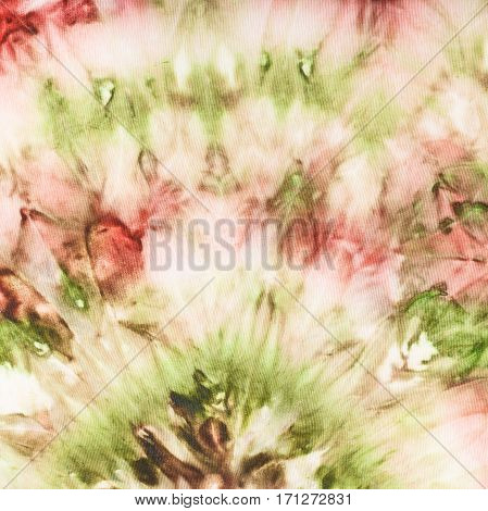 Abstract Pink And Green Decor On Silk Batik