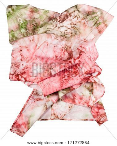 Wrinkled Silk Scarf With Abstract Pink Ornament