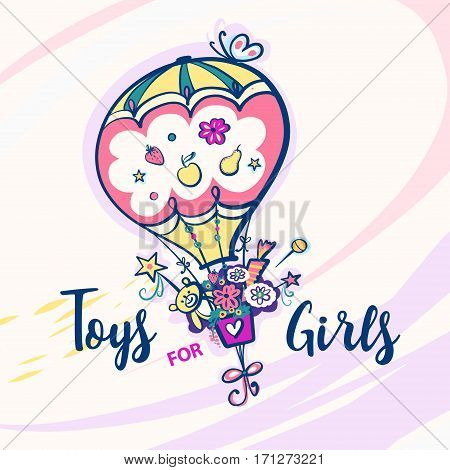 Toys For Girls. Color Balloon With Butterfly