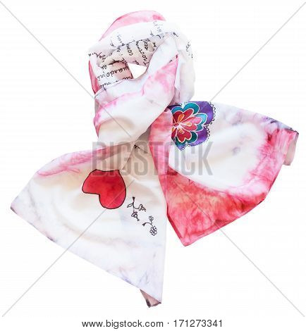 Knotted Silk Scarf With Red Heart Isolated