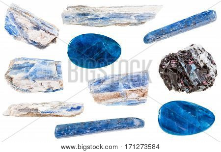 Collection Of Polished And Raw Kyanite Stones