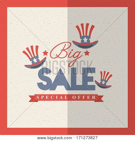 united states of america top hats icons around. big sale concept. colorful design. vector illustration