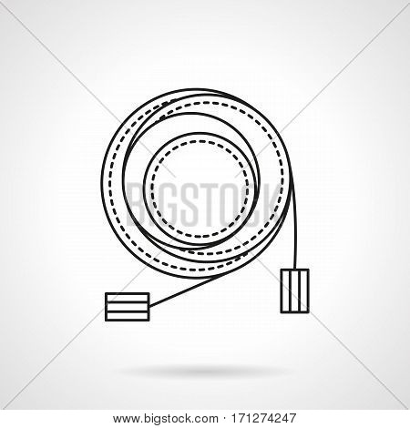 Abstract symbol of coiled microphone cable with connectors. Stage or studio sound equipment. Flat black line vector icon.