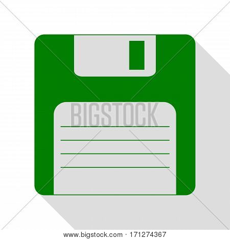 Floppy disk sign. Green icon with flat style shadow path.