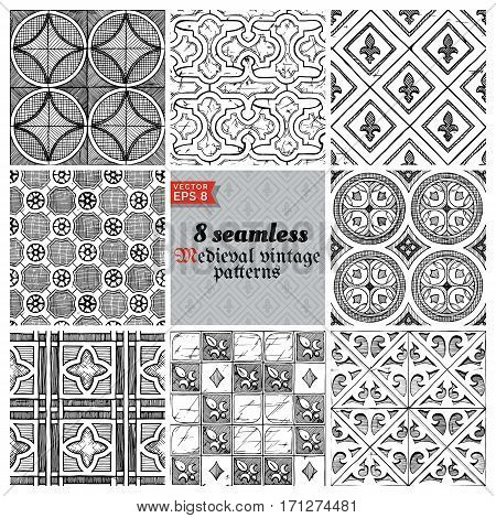 8 vector medieval seamless patterns. Black-and-white ornament in ink hand drawn style.