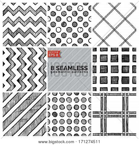8 Simple retro geometric pattern. Vector illustration in ink hand drawn style.
