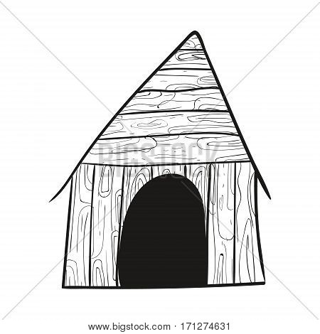 Doodle Sketch Dog House Vector Illustration texture wood