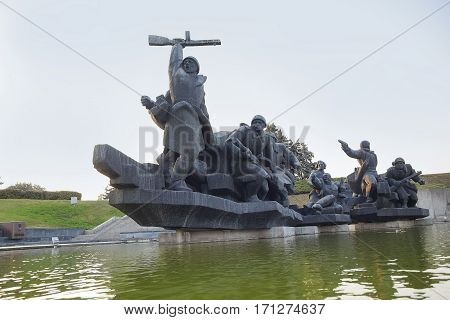 Kiev Ukraine - September 18 2015: Soviet Soldiers Attacking during World War 2. Monument of Great Patriotic War in Museum in Kiev Ukraine