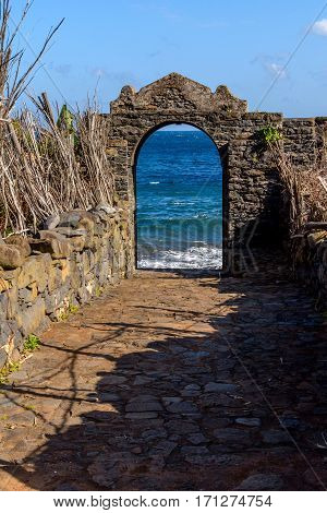 Ruins on the beach near Sao Jorge. Portal Madeira.