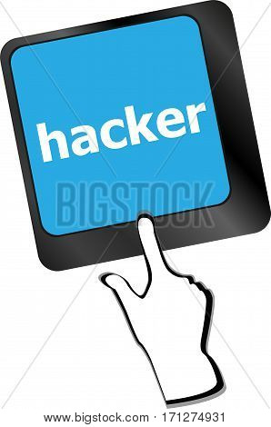 Hacker Word On Keyboard, Attack, Internet Concept