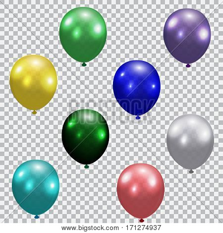 Set of celebratory balloons. Realistic, semi-transparent, colorful. Checkered background Vector illustration