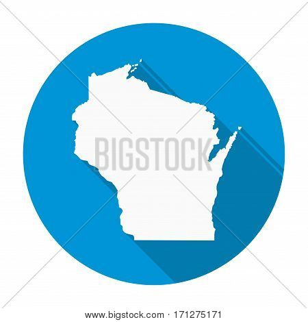 Wisconsin state map flat icon with long shadow EPS 10 vector illustration.