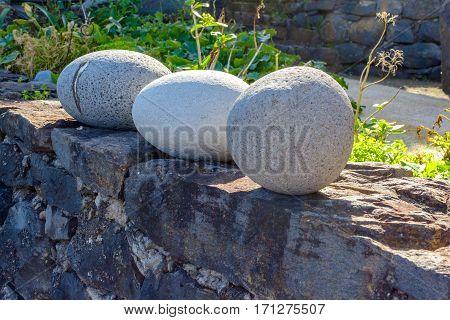 Three round stone in the ruins near Sao Jorge. Madeira.