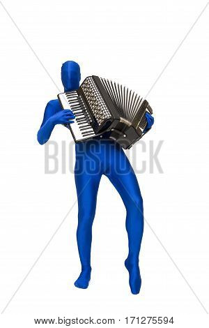 Mysterious Blue Man In Morphsuit Plays The Accordion
