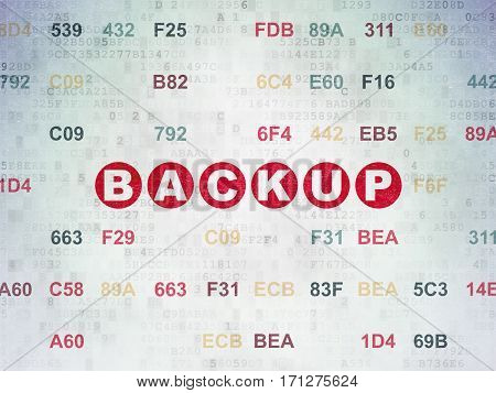 Programming concept: Painted red text Backup on Digital Data Paper background with Hexadecimal Code