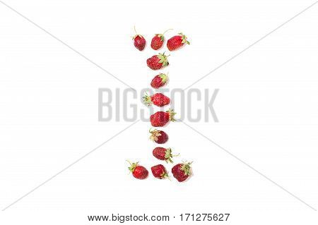 Red strawberries isolated on white background. Funny letters. English alphabet. ABC. Letter I