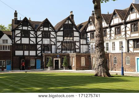 LONDON, GREAT BRITAIN - MAY 16, 2014: This is Queen's House in Tower of London which is built in Tudor style.