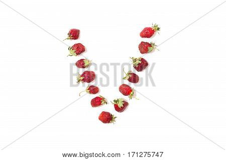 Red strawberries isolated on white background. Funny letters. English alphabet. ABC. Letter V
